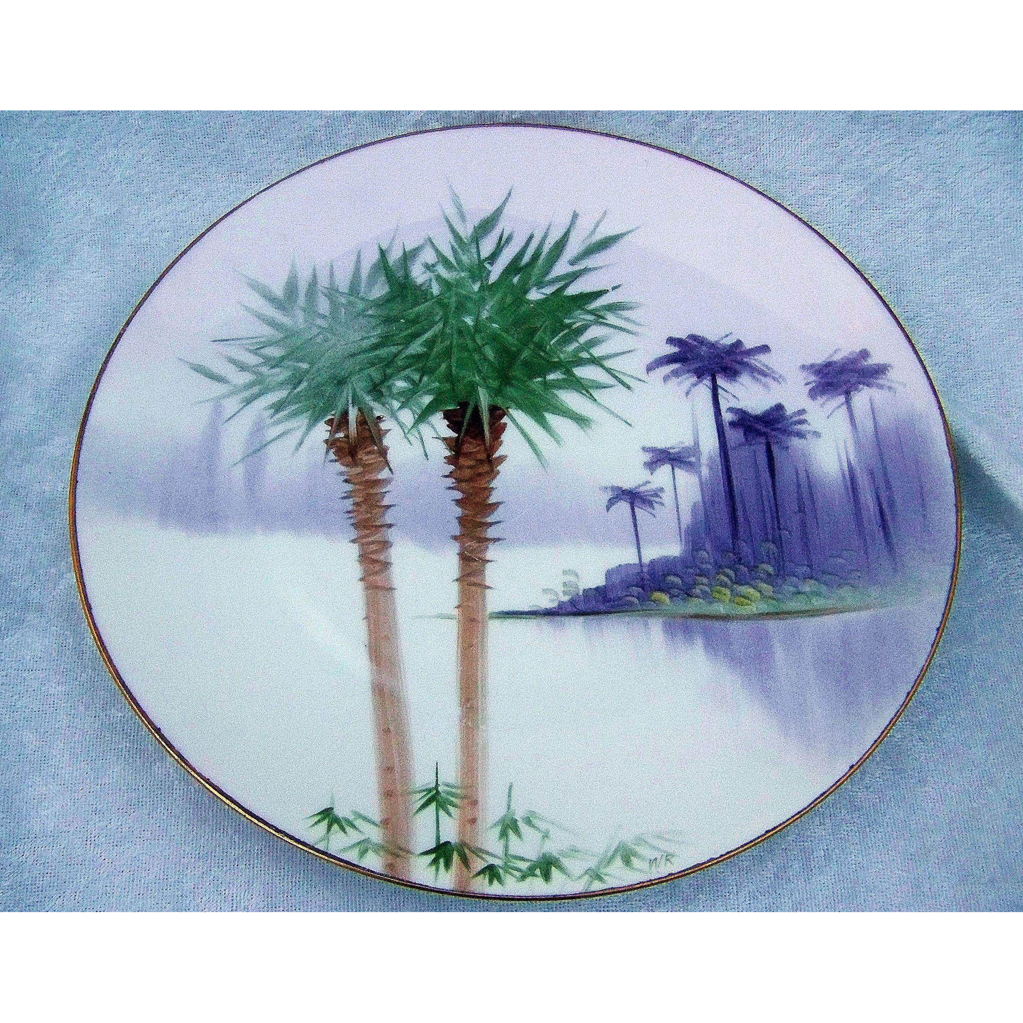 "Exotic Bavaria & J.H.Stouffer Co. of Chicago 1900's Hand Painted ""Palm Trees & the Everglades"" 8-3/4"" Scenic Plate"