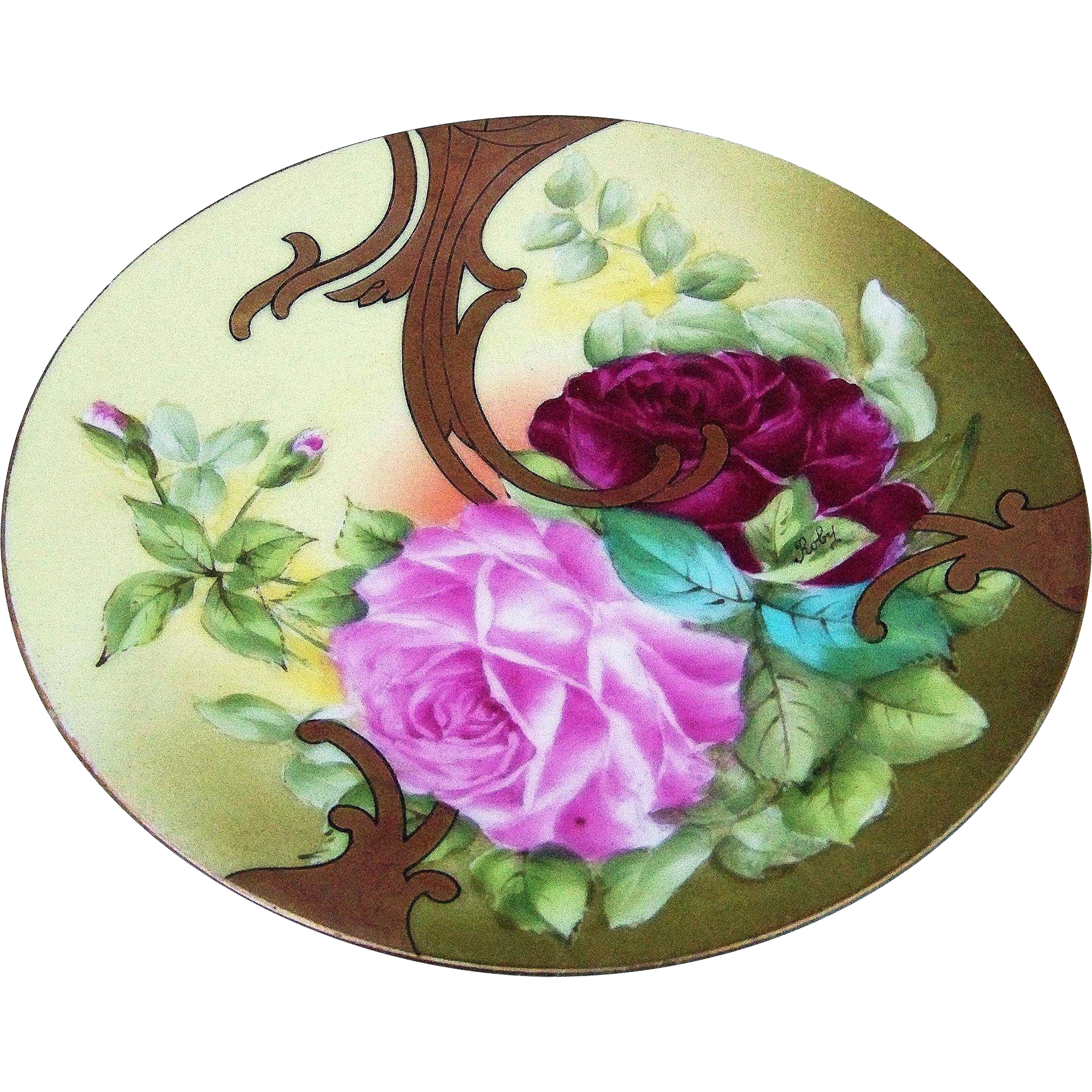 "Gorgeous T & V Limoges France 1900's Hand Painted ""Deep Red & Pink Roses"" Floral Plate by the Listed Artist, ""Roby"""