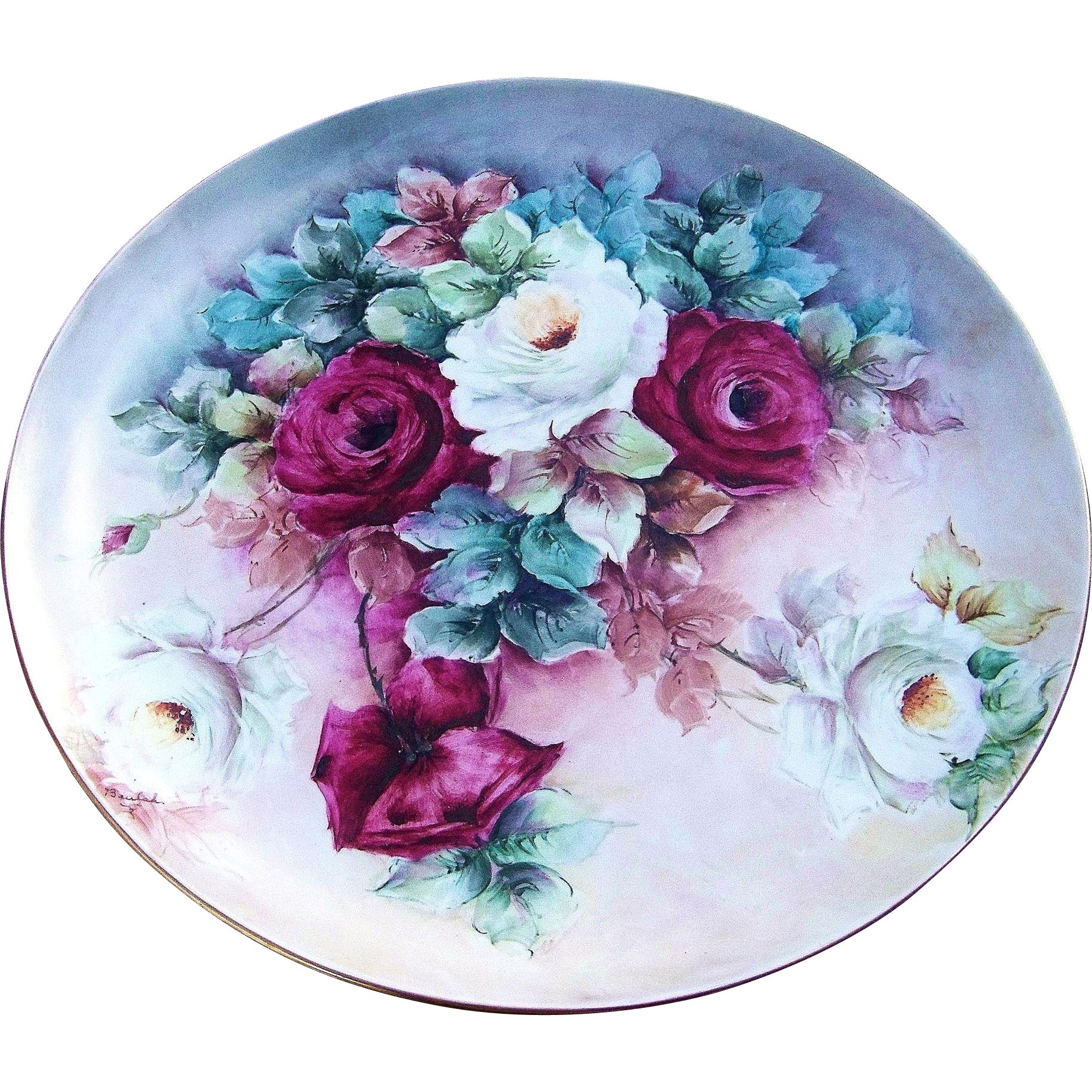 "Spectacular 13-1/4"" Hutschenreuther Selb Bavaria 1900's Hand Painted Vibrant ""Red & White Roses"" Floral Charger by the Artist, ""Beulah"""