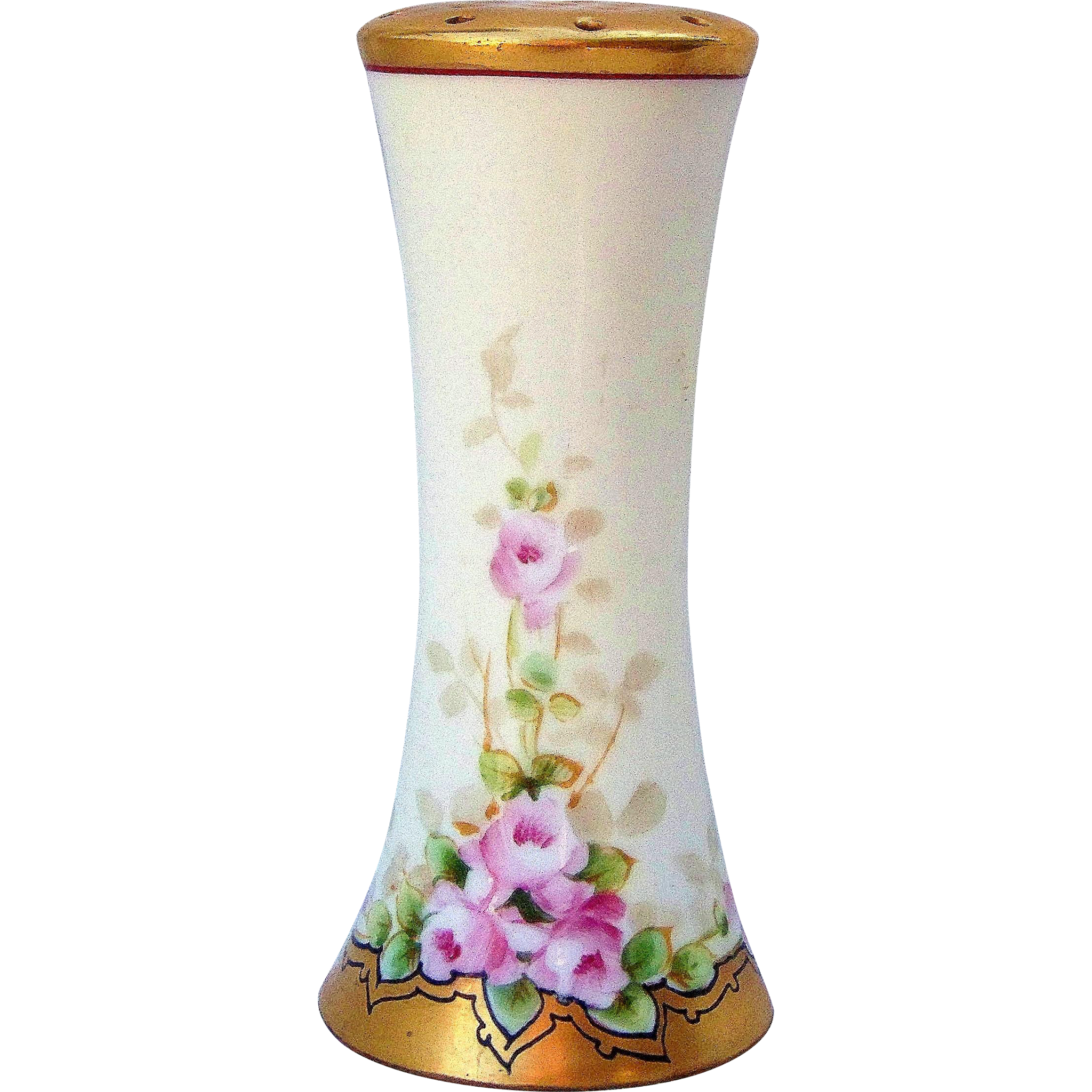 "Gorgeous Favorite Bavaria Vintage 1900's Hand Painted ""Petite Pink Roses"" 5-1/4"" Floral Sugar Shaker by the Listed Chicago Artist, ""E.W. Bieg"""