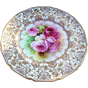 "Spectacular Royal Doulton 1900's Hand Painted Vibrant ""Red & Pink Roses"" 10-1/4"" Floral & Heavy Gold Plate by the Listed Artist, ""John Price"""
