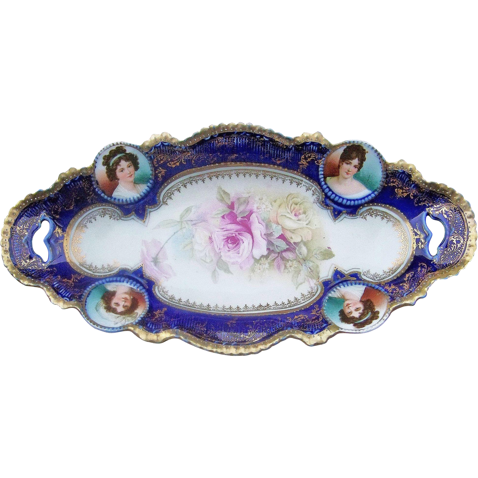 "Gorgeous RS Prussia 1900's Hand Painted Medallion Portrait of ""Madame Lebrun & Madame Recamier & Roses"" 12-1/2"" Cobalt Blue Tray"
