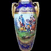 "Scarce RS Prussia 1900's ""Napoleon & His Generals"" 12-1/2"" Scenic Cobalt Blue Vase"