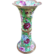 "17"" Gorgeous Nippon 1900's Hand Painted ""Red , Pink, & Powder Blue Roses"" Floral Corset Vase"