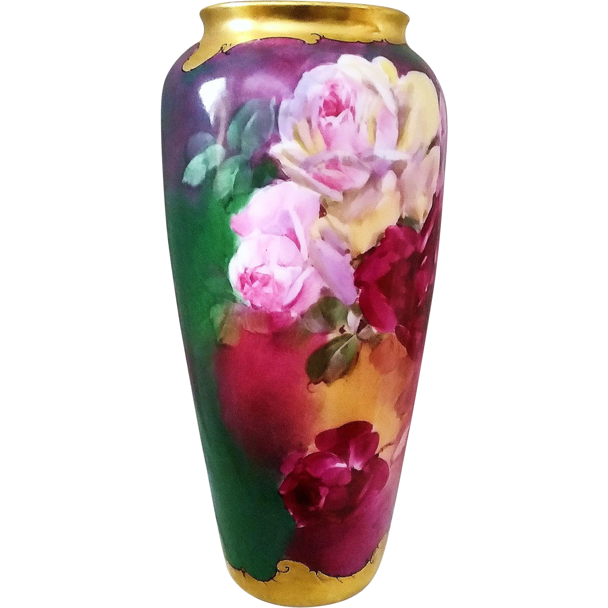 "Exquisite Rosenthal Bavaria 1900's Hand Painted Deep ""Red, White-Pink, & Yellow Roses"" 9"" Floral Vase by the Listed Artist, ""Julius Brauer"""