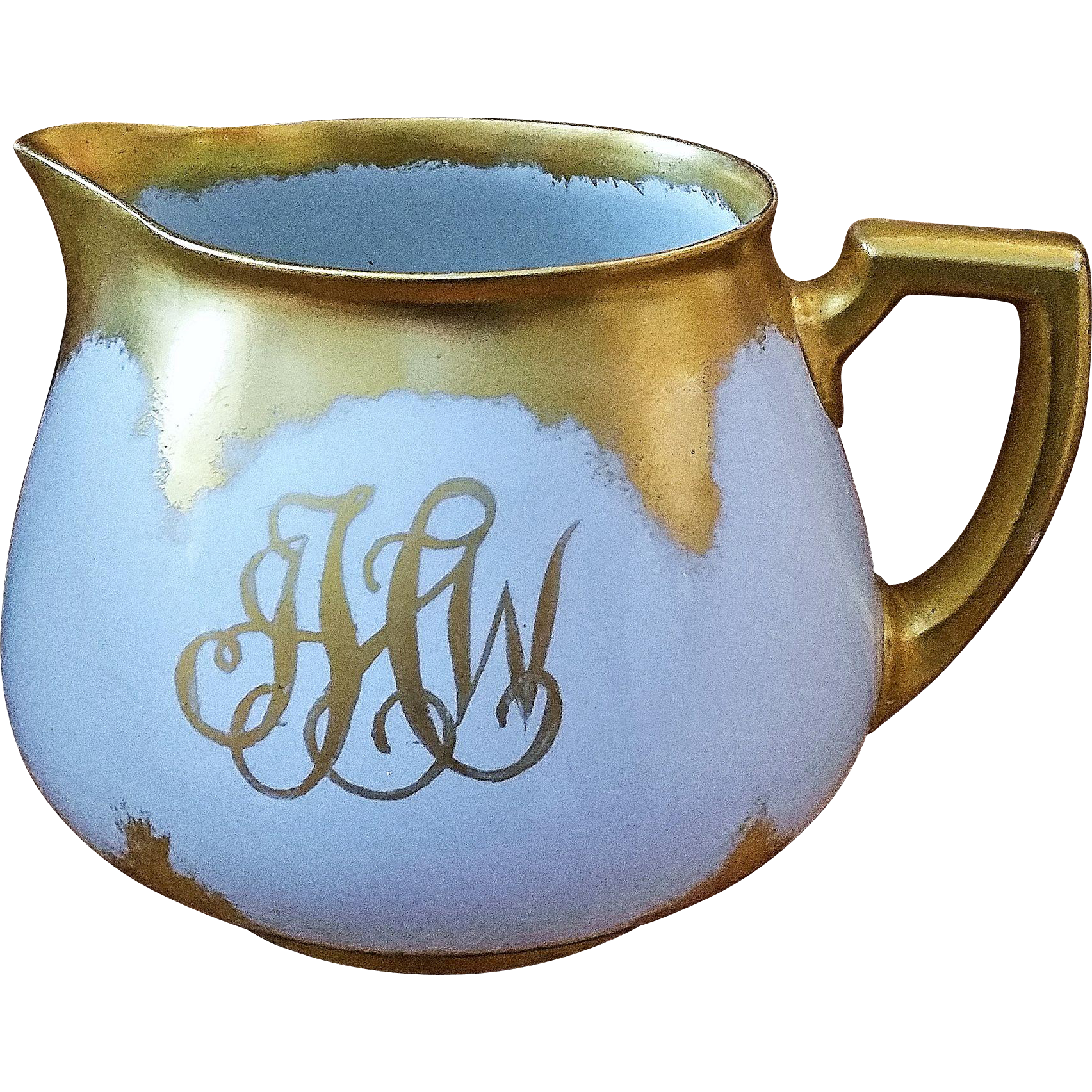 Gorgeous Vintage William Guerin Limoges France Master China Decorator Lycett Hand Painted 1900 Ornate Gold 6 1 4 Cider Pitcher