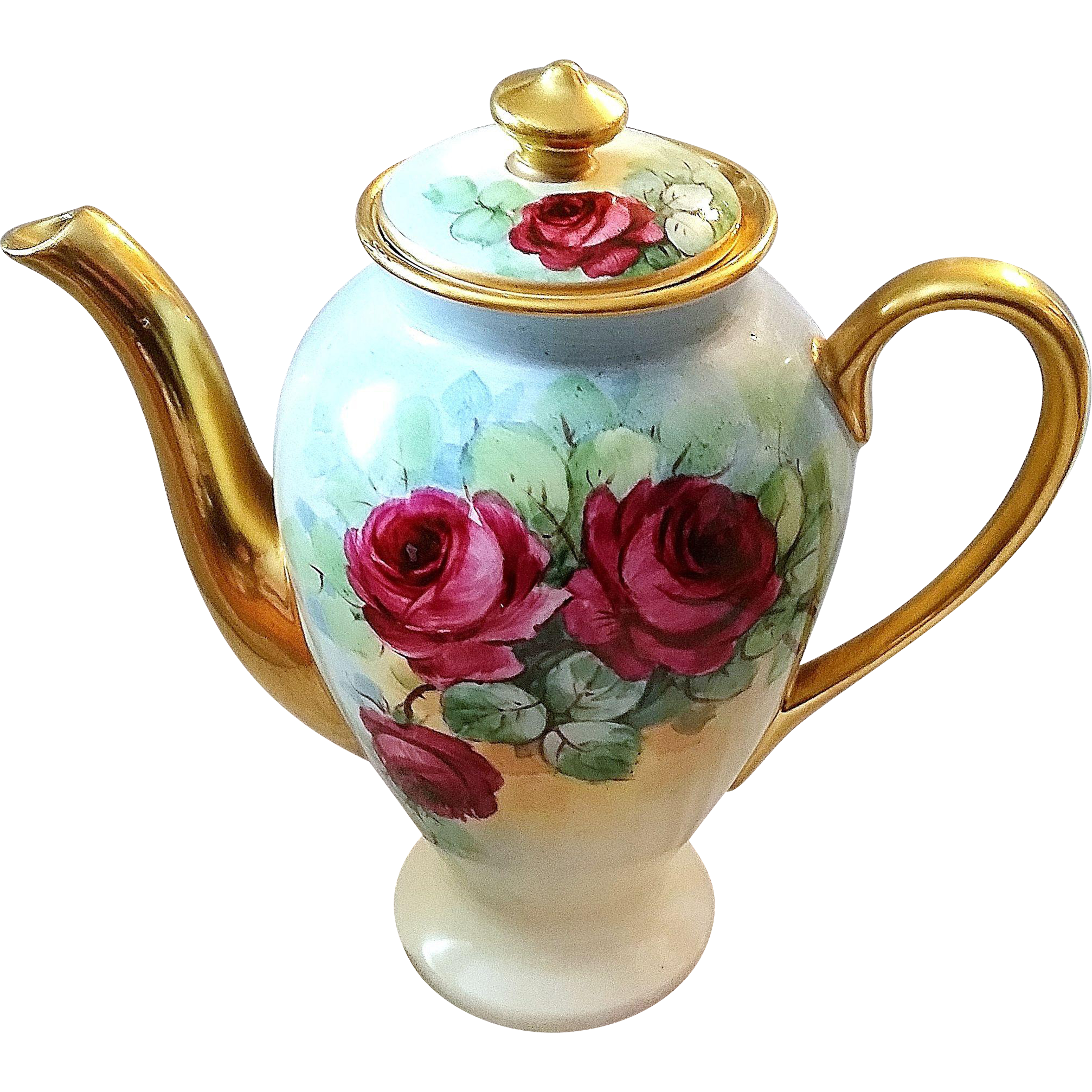 "Gorgeous Osborne Studio of Chicago 1900's Hand Painted Deep ""Red Roses"" 8-1/2"" Floral Tea Pot by Listed Artist, ""Asbjorn Osborne"""