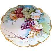 "Gorgeous Vintage LImoges France 1900's Hand Painted ""White & Yellow Roses With Purple & Yellow Grapes"" 12-3/8"" Scallop Floral & Fruit Charger"