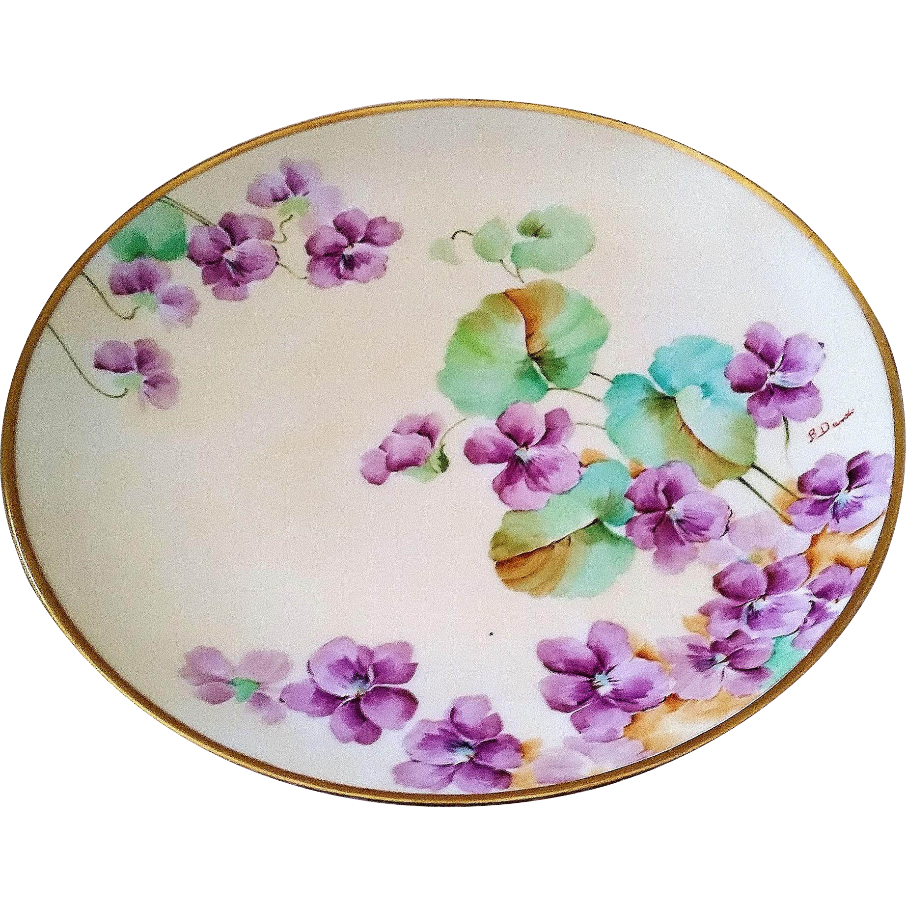 "Attractive Ginori Italy 1900's Hand Painted ""Violets"" 9-1/4"" Floral Plate by the Artist, ""B. Danti"""