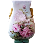 """Large & Impressive Bavaria 1900's Hand Painted """"Pink & White Roses"""" 15"""" Floral Vase by the Listed Artist, """"Jean Haber"""""""