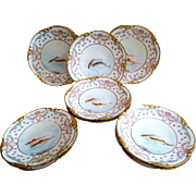 "Fabulous Jean Pouyat Limoges France 1900's Hand Painted ""Sea Fish & Chain of Red Roses"" Game Set of 11 Scenic Scallop Plates by the Listed French Artist, ""Emile"""