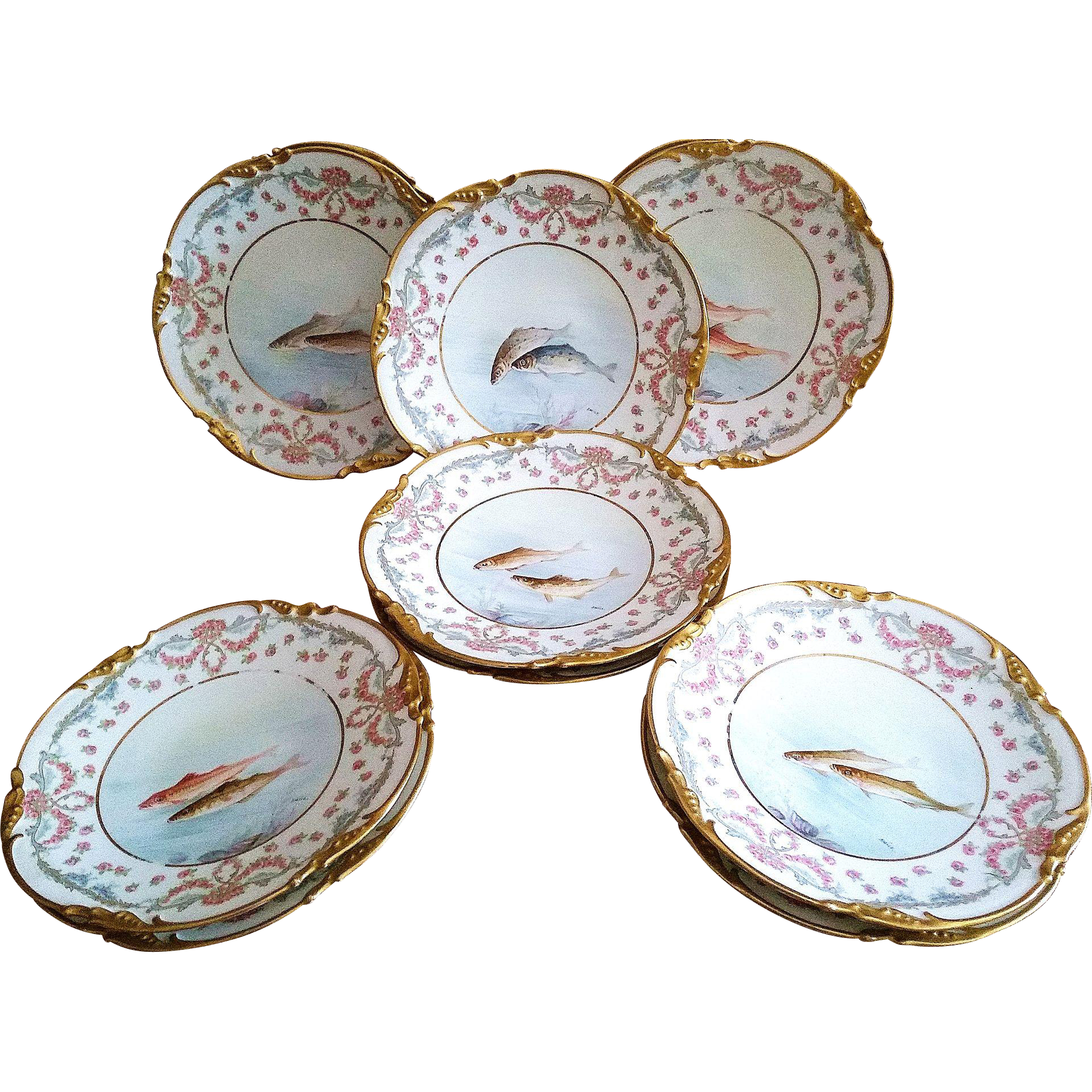 """Fabulous Jean Pouyat Limoges France 1900's Hand Painted """"Sea Fish & Chain of Red Roses"""" Game Set of 11 Scenic Scallop Plates by the Listed French Artist, """"Emile"""""""