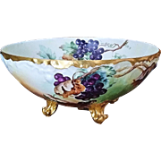 """Exquisite T & V Limoges France Hand Painted Deep """"Purple & Green Grapes"""" 14-1/2"""" 4-Footed Fruit Center Bowl by the Artist, """"Jennis Stafford"""""""