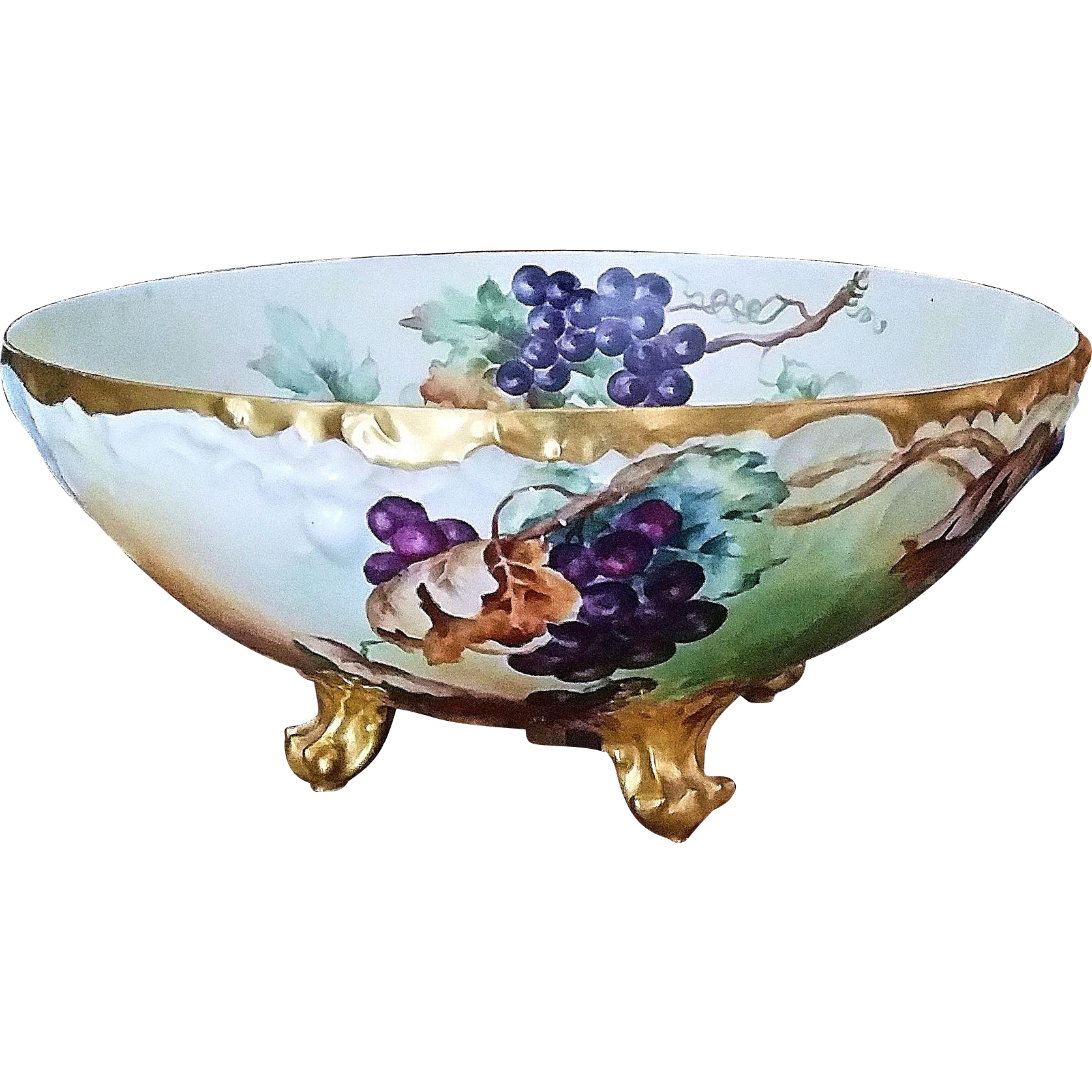 "Exquisite T & V Limoges France Hand Painted Deep ""Purple & Green Grapes"" 14-1/2"" 4-Footed Fruit Center Bowl by the Artist, ""Jennis Stafford"""