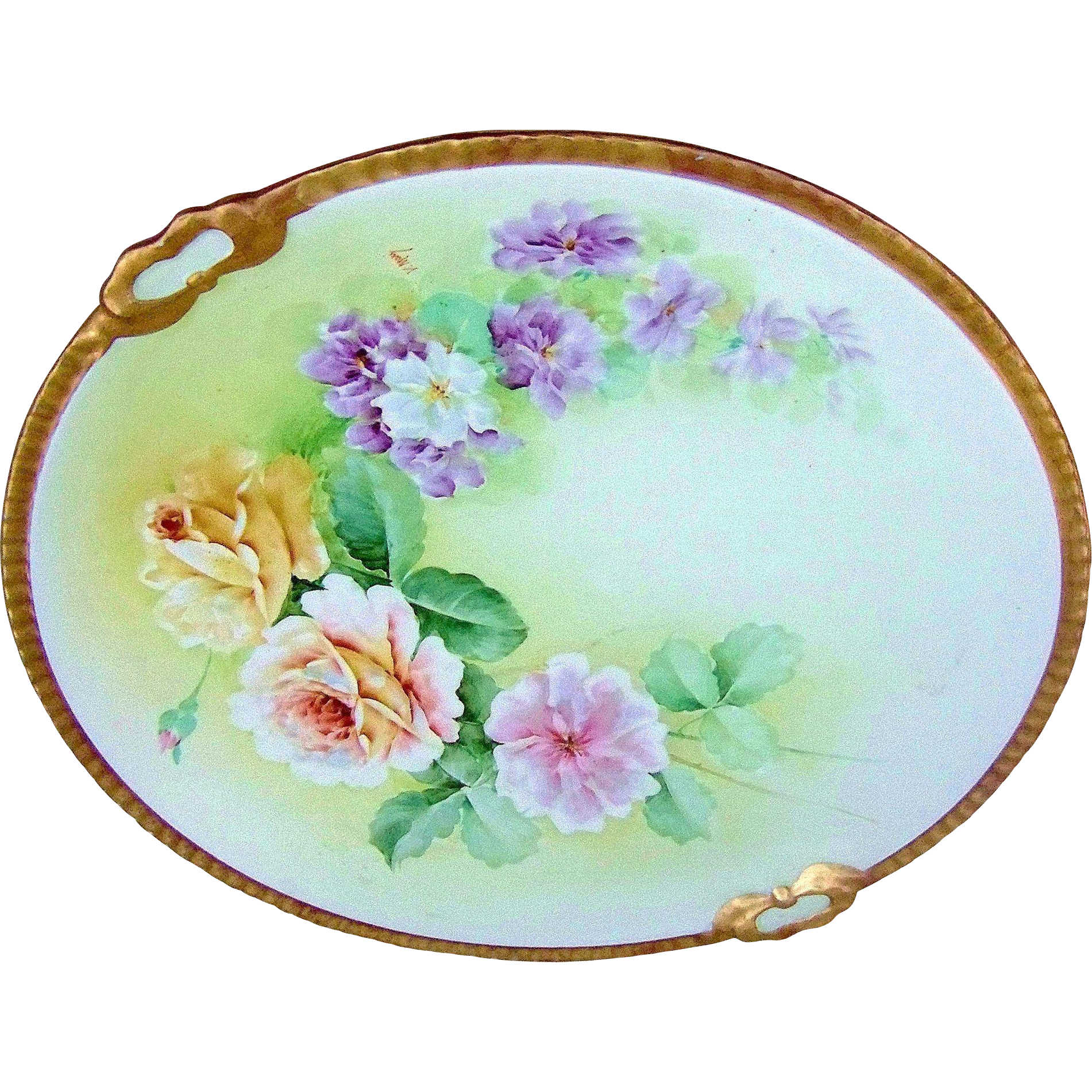"Gorgeous Vintage Ginori Italy 1900's Hand Painted ""Yellow & Pink Roses & Violets"" 13"" Floral Charger by the Italian Artist, ""V. Mari"""