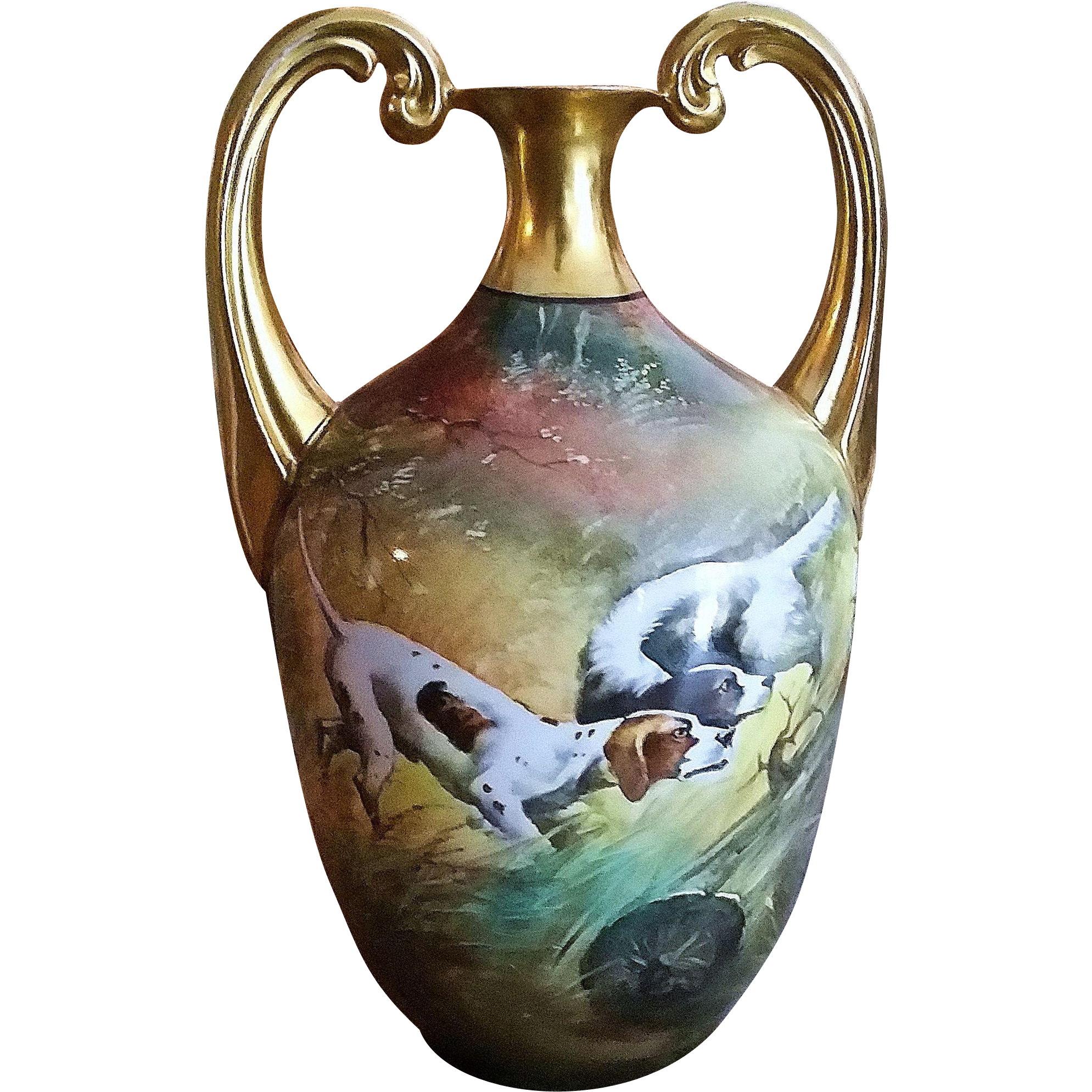 "Spectacular Edward Donath & Co. & Germany Hohenzollern 1900's Hand Painted ""Pair of Hunting Dogs"" 9"" Scenic Muscle Vase by the Listed Artist, ""Adolph Heidrich"""
