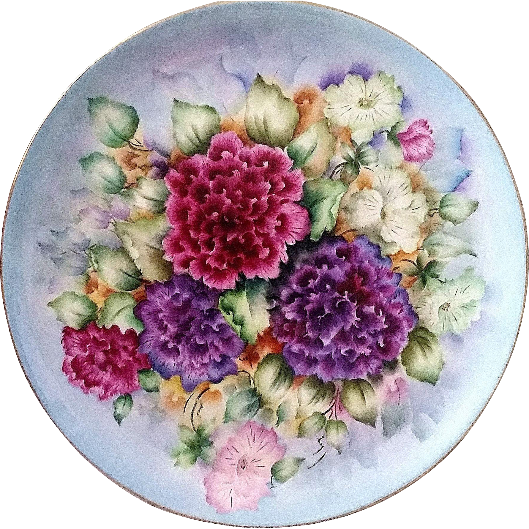 "Gorgeous Bavaria 1900's Hand Painted Vibrant ""Deep Red & Purple Zinnia"" 10-1/4"" Floral Plate by the Artist, ""Jeri"""
