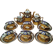 "Fabulous & Pristine Pickard Studio of Chicago 1900's Hand Painted ""Encrusted Linear"" 17 Pc. Heavy Gilded Gold & Floral Tea Set"