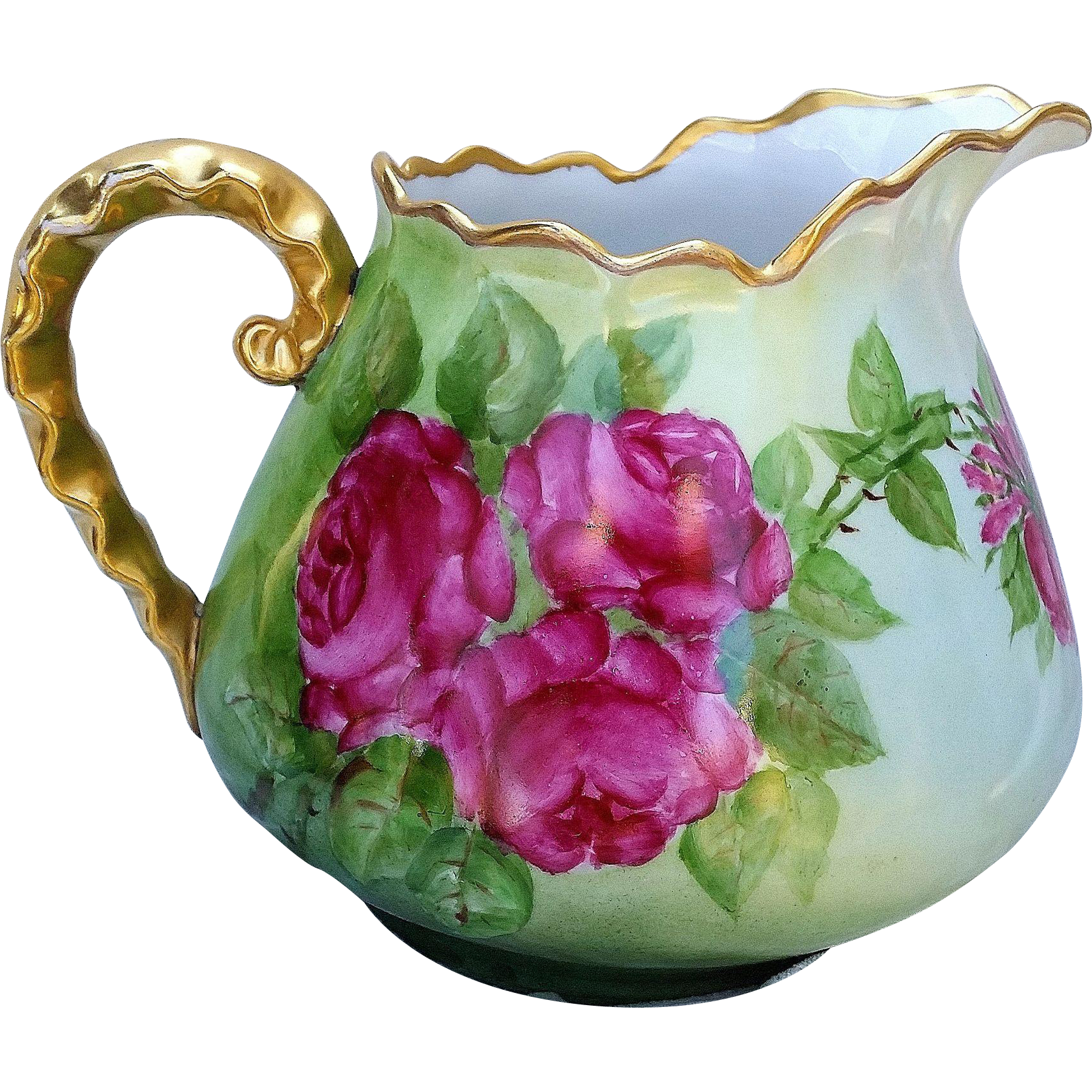 "Gorgeous Limoges France 1900's Hand Painted ""Deep Red Roses"" 7-1/8"" Floral Cider Pitcher"