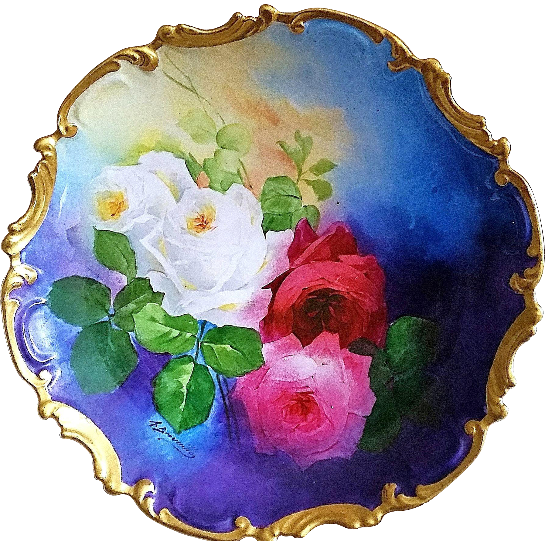 "Spectacular Limoges France Coronet 1900's Hand Painted Vibrant ""Red, Deep Pink, & White Roses"" 13-1/4"" Rococo Floral Charger by the Listed French Artist, ""A. Broussilon"""