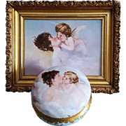 "Beautiful T & V Limoges France 1902 Hand Painted ""Lady Kissing A Cherub"" 8"" Scenic Dresser Box Casket"
