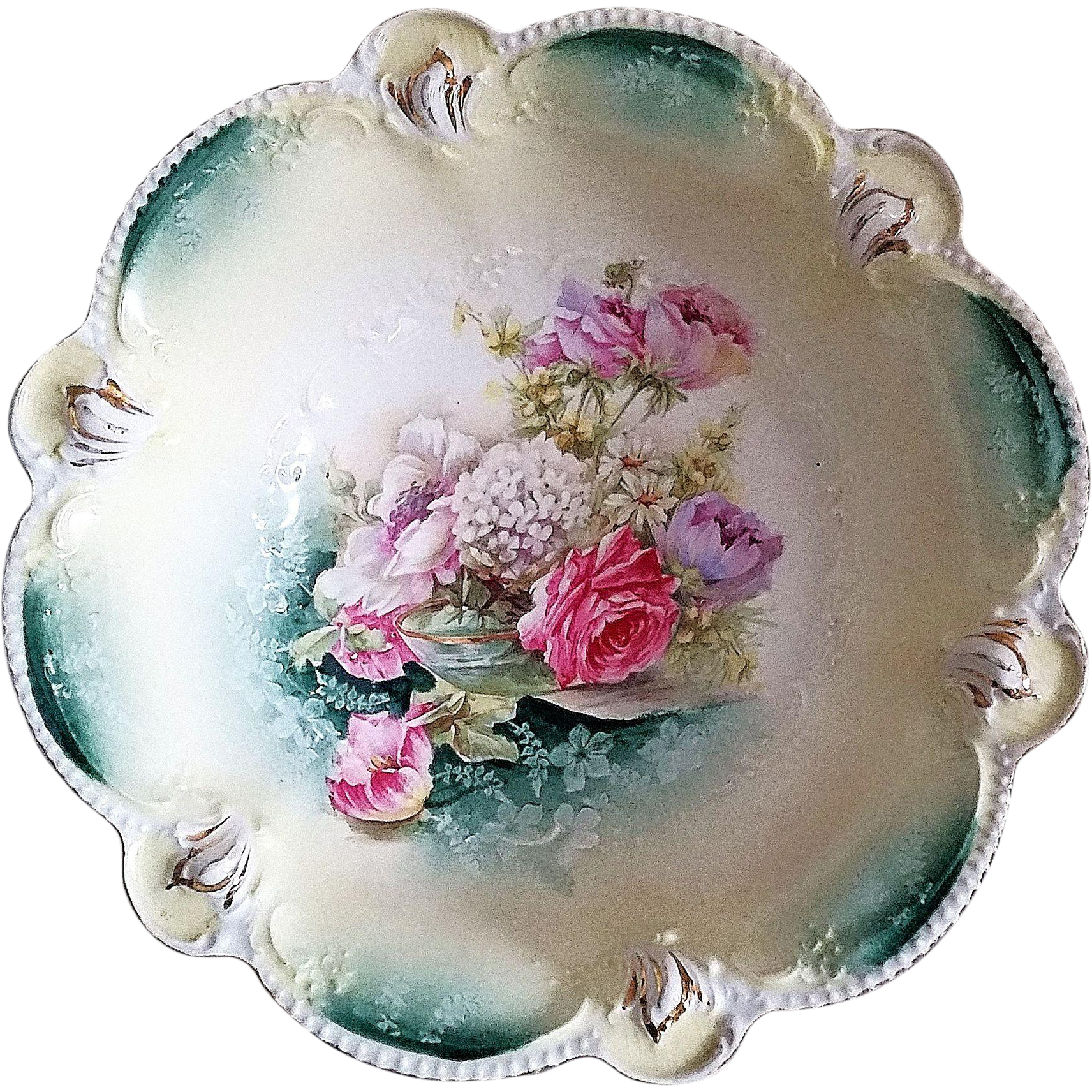 "Gorgeous RS Prussia 1900's ""Bowl of Flowers With Snowball & Roses"" 10-5/8"" Floral Bowl"