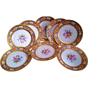 "Outstanding Thomas Bavaria 1900's Hand Painted Colorful ""Mixed Flowers"" Set of 9 Floral Plates"