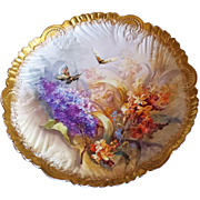 "Fabulous France Pre-1900's Hand Painted ""Butterflies & Lilacs"" 12-1/2"" Crimped & Scalloped Floral Charger"