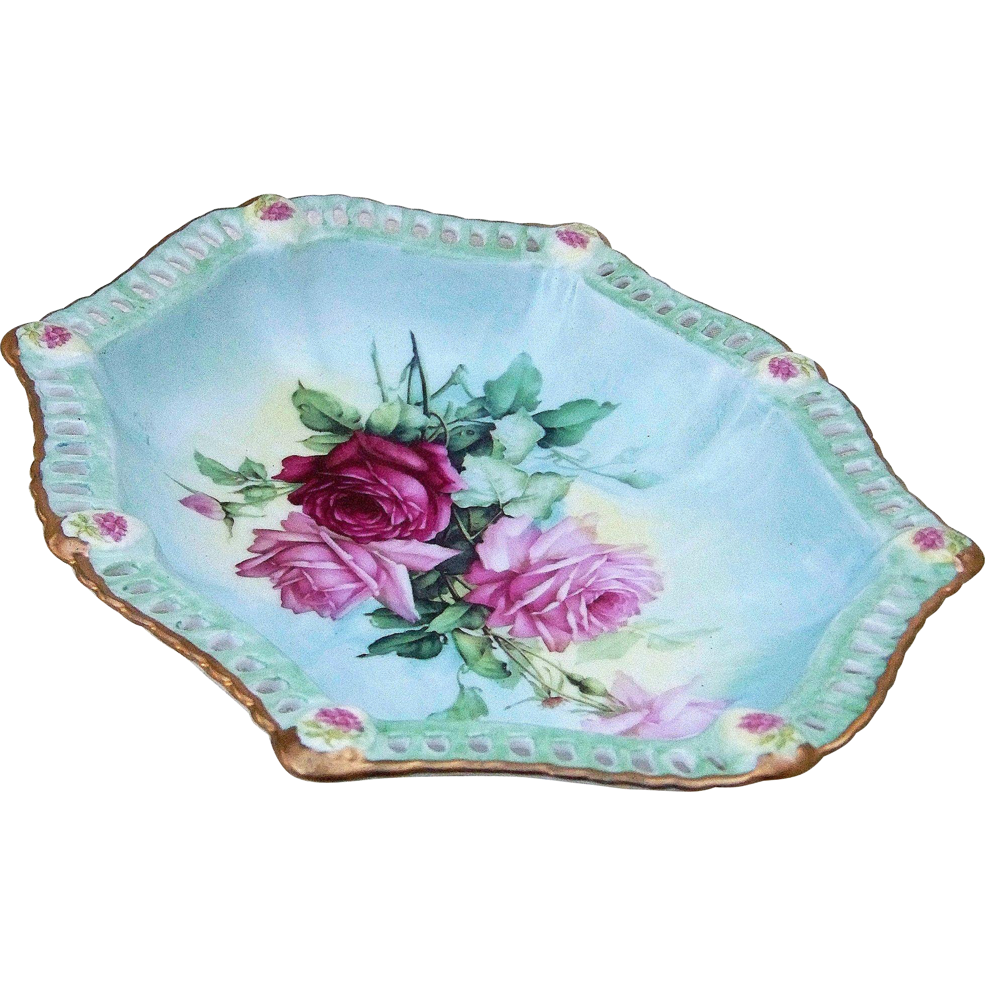"Gorgeous Bavaria 1900's Hand Painted ""Red & Pink Roses"" 10"" Reticulated & Medallion Floral Bowl"