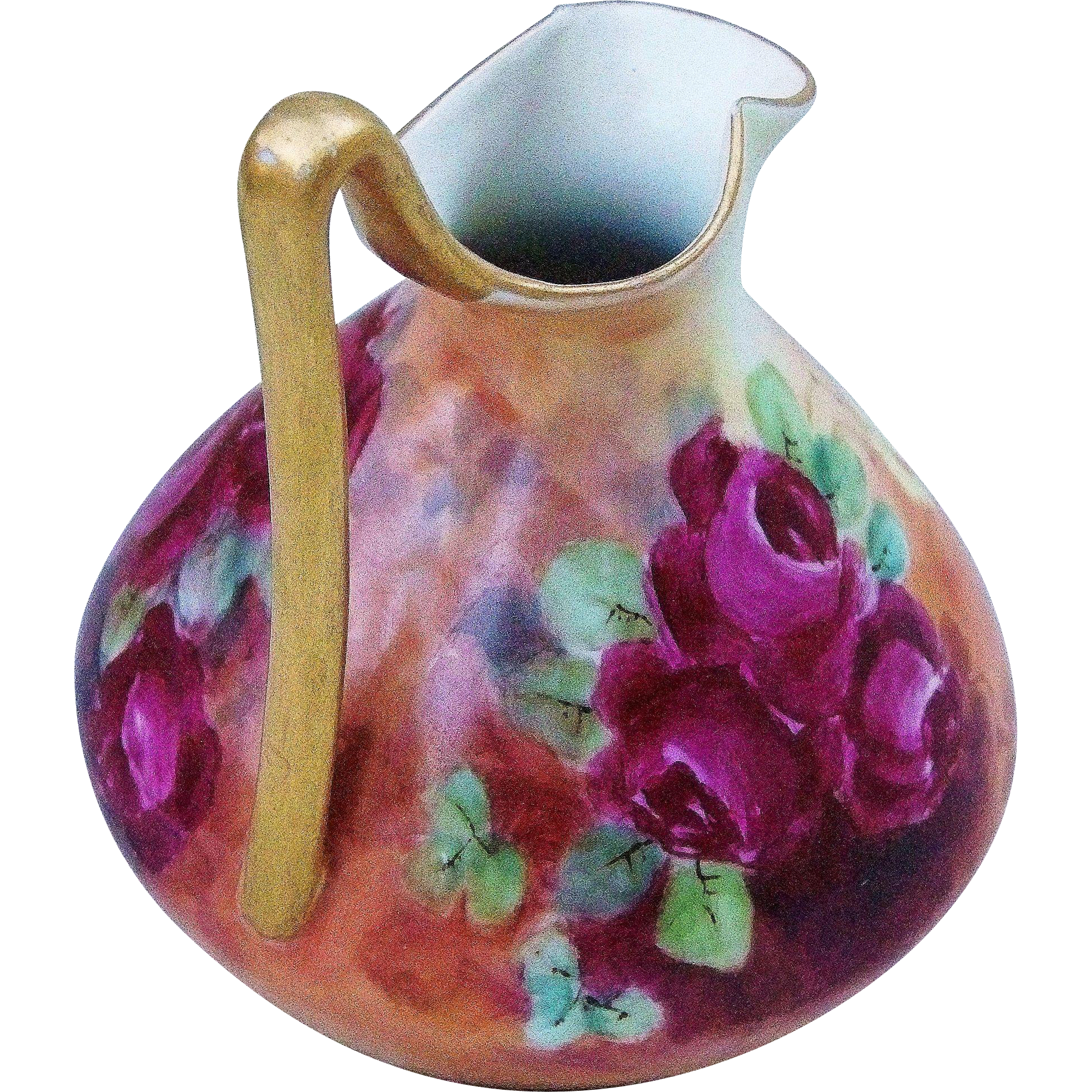 "Gorgeous Limoges 1907 Hand Painted ""Deep Red & Yellow Roses"" 6-1/4"""" Floral Ewer by the Artist, ""Mary L. Homer"""