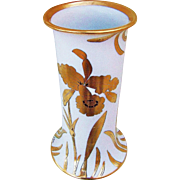 "Wonderful J.H. Stouffer Decorating Studio 1900's Hand Painted ""Gold Water Lilies"" 9-3/4"" Floral Vase by Listed Studio Artist, ""Arnold Rhodes"""