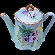 "Gorgeous Bavaria 1900's Hand Painted ""Lavender Pansies & Petite Daisies"" 6-1/2"" Floral Tea Pot by Artist, ""San.Do"""