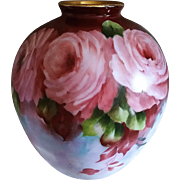 "Beautiful Bavaria 1900's Hand Painted ""Deep Pink Roses"" 6-1/4"" Floral Vase by the Artist, ""Andy Thompsen"""