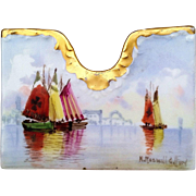 """Scarce Bavaria & Pickard Studio of Chicago 1905 Colorful """"Italian Sailboats of Venice Harbor"""" Letter Holder by Listed Artist, """"Nathan Roswell Gifford"""""""