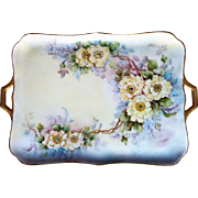 """Gorgeous Bavaria 1926 Hand Painted """"Yellow Roses"""" 14-1/2"""" Floral Tray by the Artist, """"B.C.O."""""""