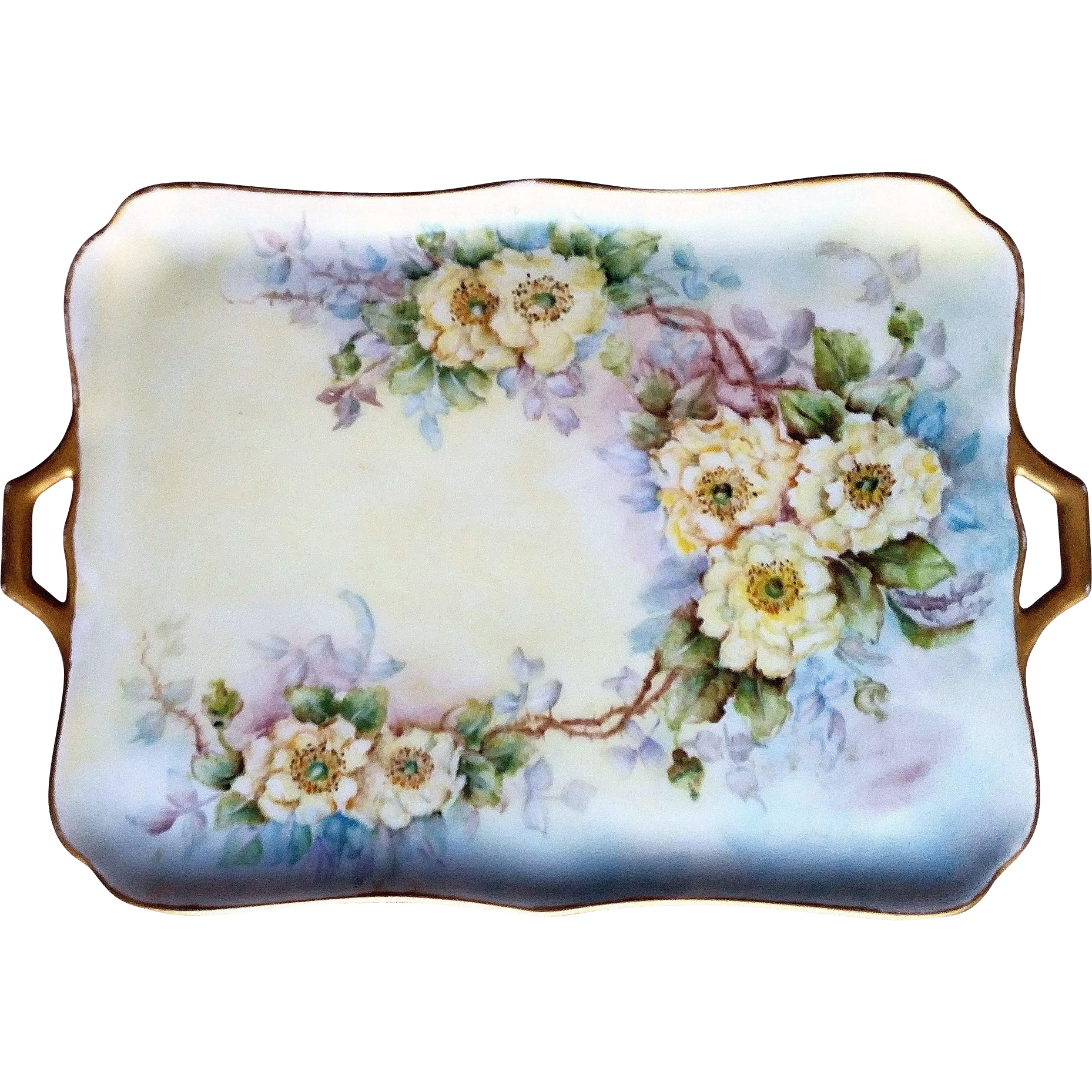 "Gorgeous Bavaria 1926 Hand Painted ""Yellow Roses"" 14-1/2"" Floral Tray by the Artist, ""B.C.O."""