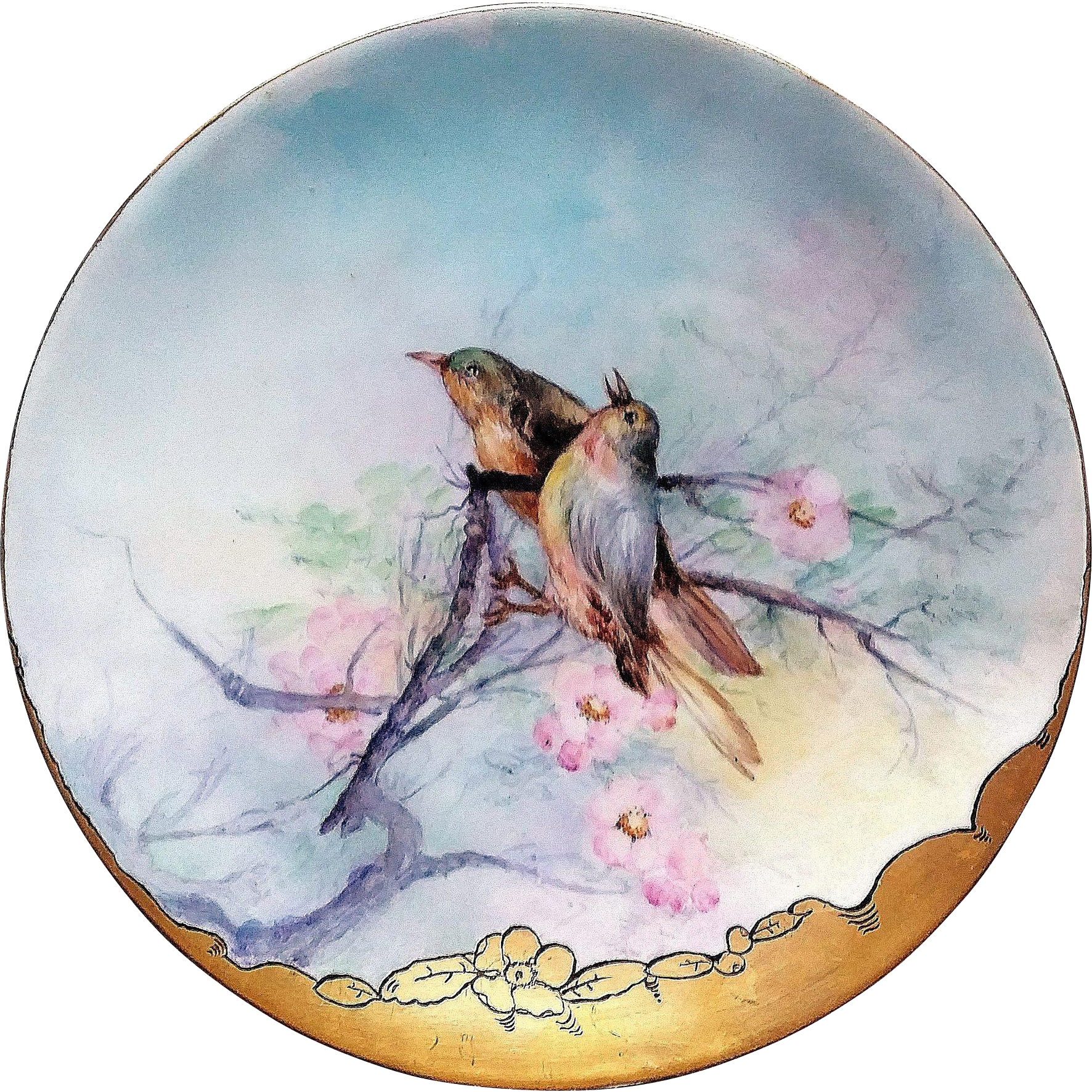 "Vintage Thomas Sevres Bavaria 1900's Hand Painted ""Pair of Robins in Floral Dogwood Tree"" 11-1/4"" Scenic Plate by the Artist, ""F.E.C."""