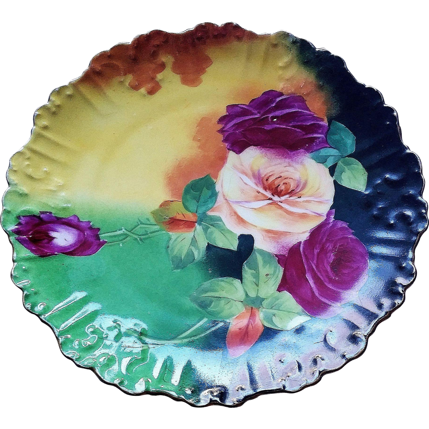 "Gorgeous & Vibrant L.R.L. Limoges France 1900's Hand Painted ""Deep Red & Yellow Roses"" 9-1/2"" Floral Plate by the French Artist, ""Brogin"""