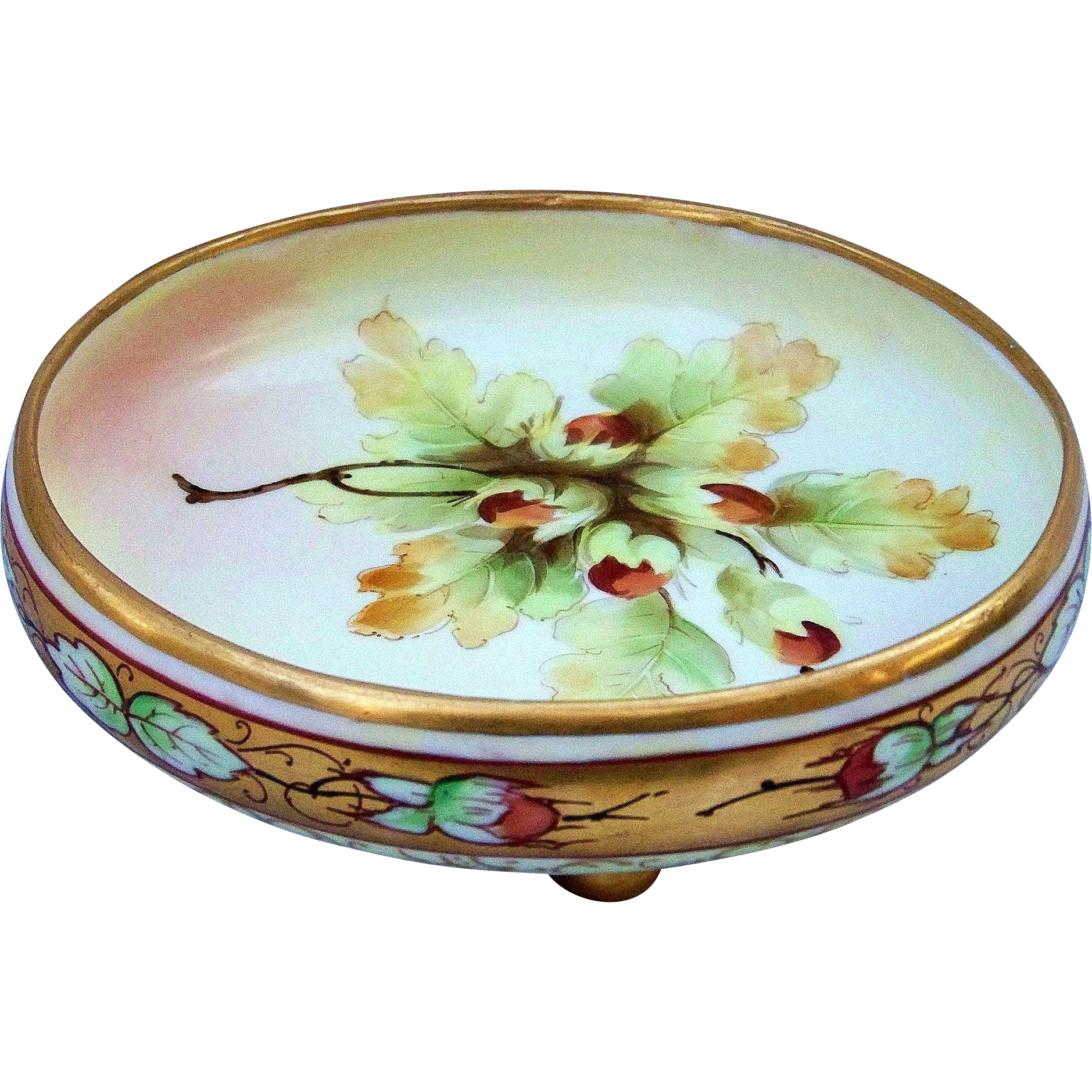 "Gorgeous Vintage Pickard Studio of Chicago 1900 Hand Painted Colorful ""Nuts"" 8"" Footed Master Nut Scenic Bowl"