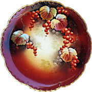 "Gorgeous Haviland France & Pickard Studio of Chicago 1903 Hand Painted Vibrant ""Red Currant"" Scallop Plate by the Artist, ""Jeremiah Vokral"""
