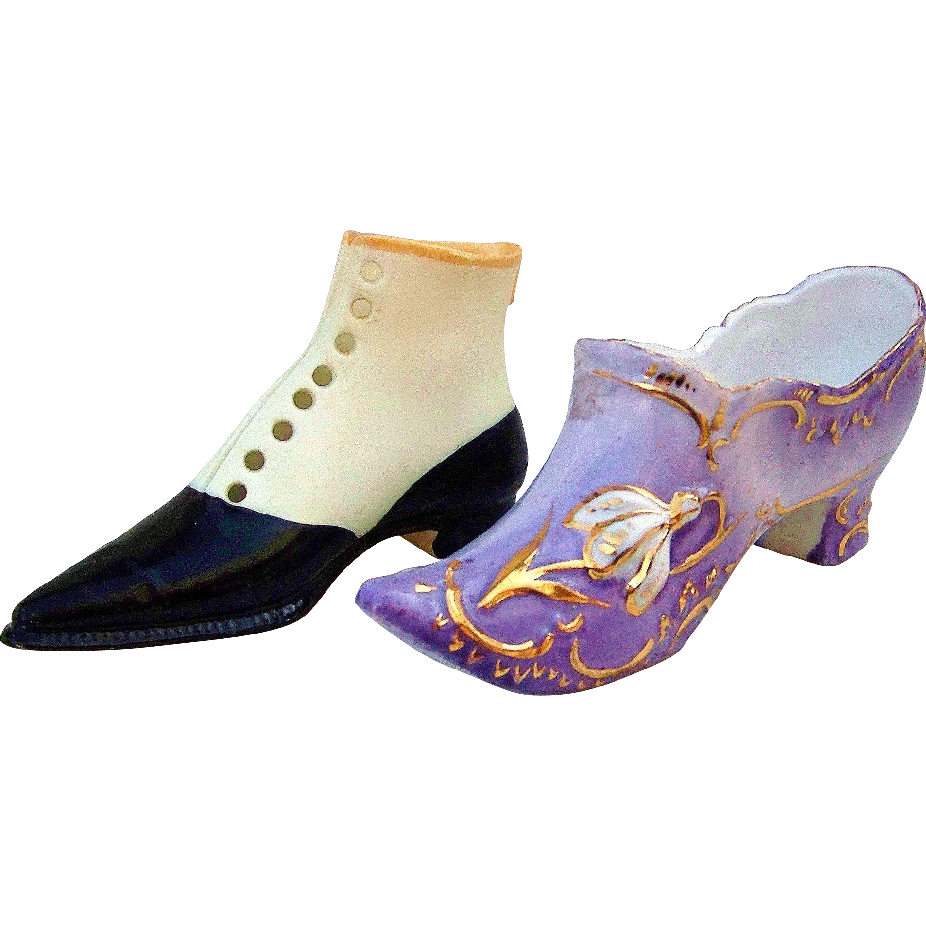 Vintage RS Prussia & Royal Bayreuth 1900's Miniature Hand Painted Shoes