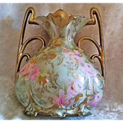 "Scarce RS Prussia 1900's ""Washington DC"" Advertising & Pink & Yellow Roses Iridescent Green Floral 5"" Pillow Vase"