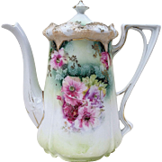 "Gorgesous RS Prussia 1900's ""Red, Pink, & Lavender Poppies"" Stipple Mold Floral Tea Pot"