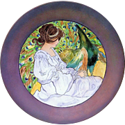 """Gorgeous Limoges France 1900's Hand Painted """"Victorian Lady & the Peacock"""" 13"""" Scenic Charger"""