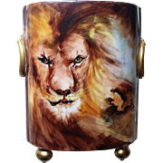 "Spectacular William Guerin Limoges France 1900's Hand Painted Lifelike ""King of Beast"" Footed 9-1/2"" Lion Cache Pot"