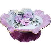 "Lavish Bavaria 1900's Hand Painted ""Pink Roses"" 10-1/4"" Pedestal Floral Bonbon Bowl by Artist, ""Karen Lemmon"""