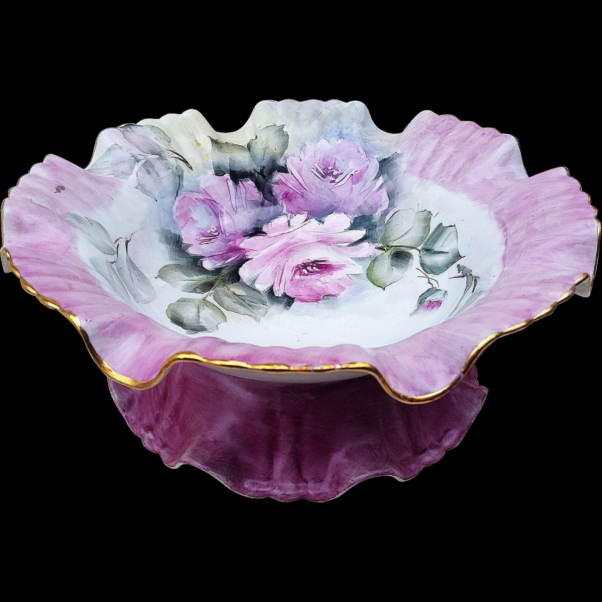 """50% OFF  Lavish Bavaria 1900's Hand Painted """"Pink Roses"""" 10-1/4"""" Pedestal Floral Bonbon Bowl by Artist, """"Karen Lemmon"""""""