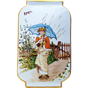"""Superb France Pre-1900 Hand Painted """"Lady Strolling in An April Shower"""" 9-1/8"""" Scenic Vase"""