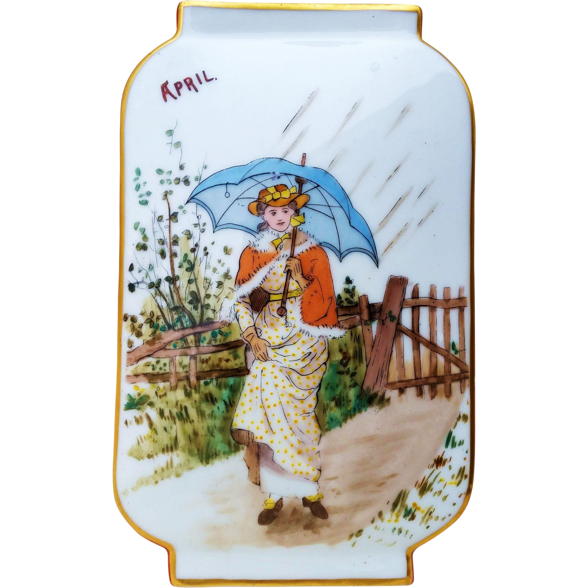"Superb France Pre-1900 Hand Painted ""Lady Strolling in An April Shower"" 9-1/8"" Scenic Vase"