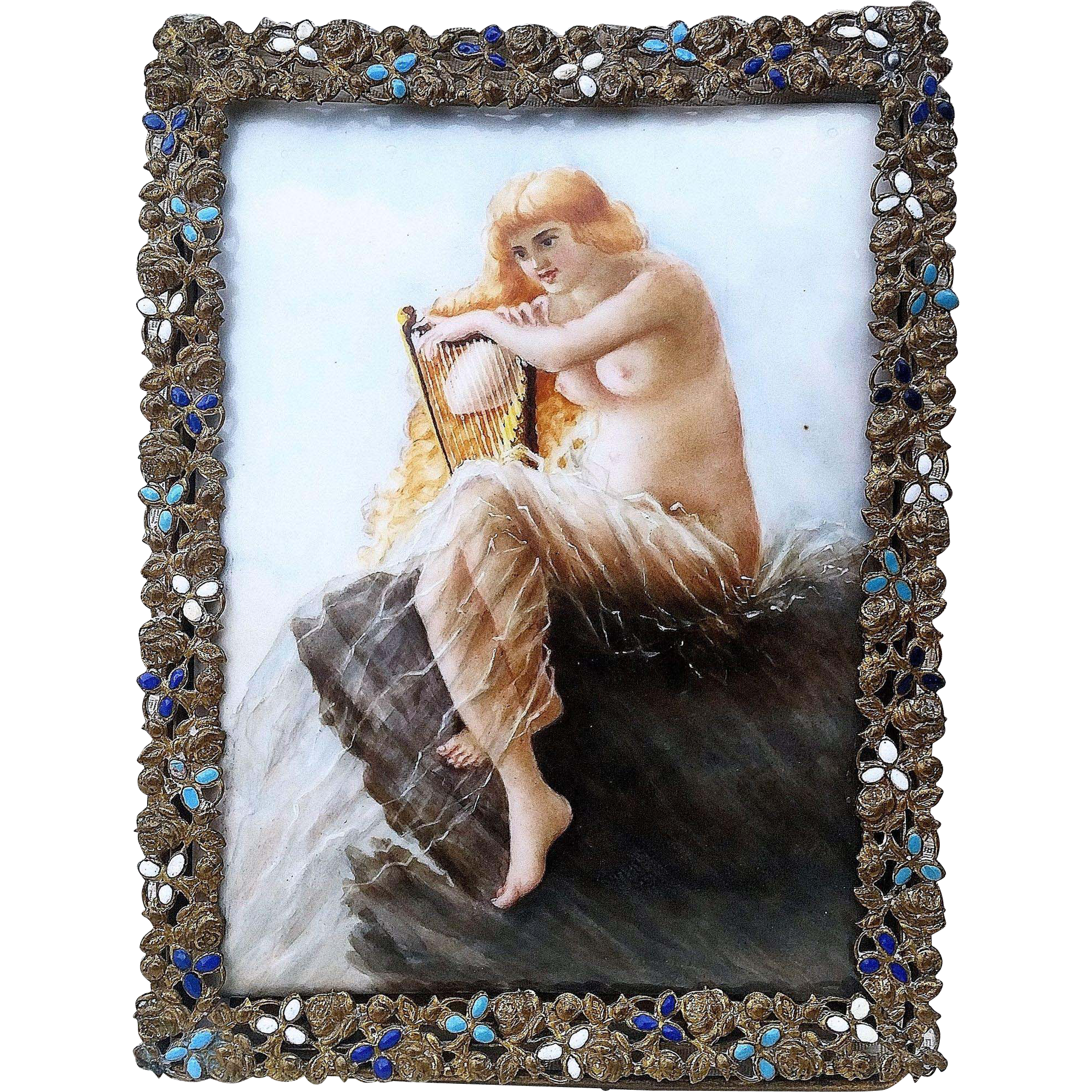 "Beautiful Limoges France Hand Painted 1900's ""Gorgeous Nude At The Sea Playing Harpsichord"" Scenic Plaque"